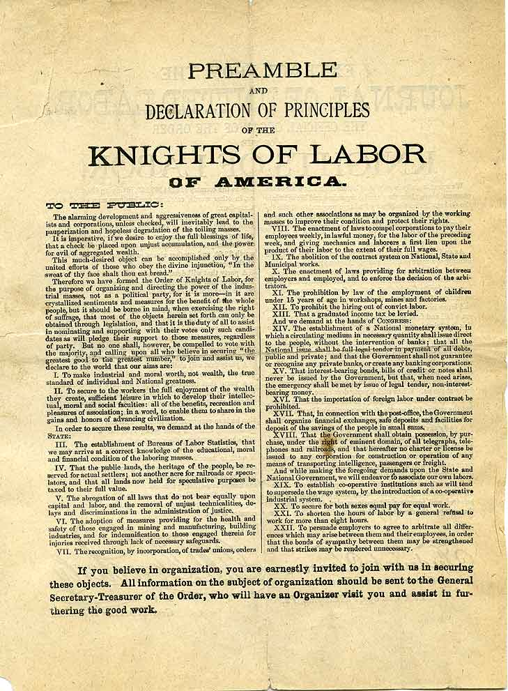 Preamble and declaration of principles of the Knights of Labor of America