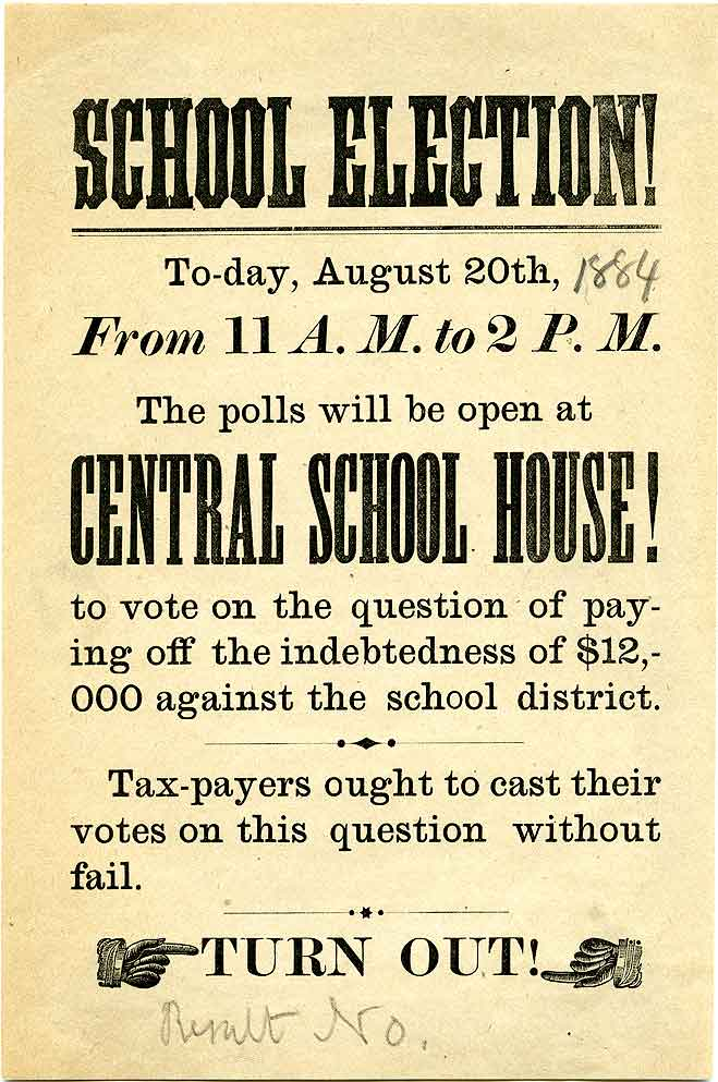 School election! : to-day, August 20th...at Central School House!