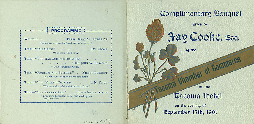 Complimentary banquet given to Jay Cooke