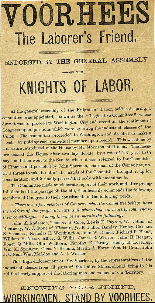Voorhees, the Laborer's Friend. Endorsed by the General Assembly of the Knights of Labor