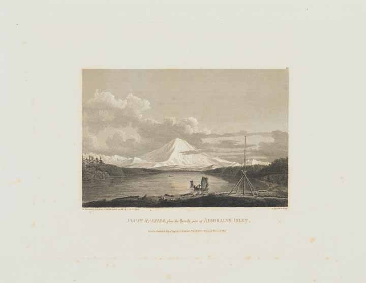 plate from Atlas to Vancouver's Voyages (1798) showing view of Mount Rainier from Admiralty Inlet