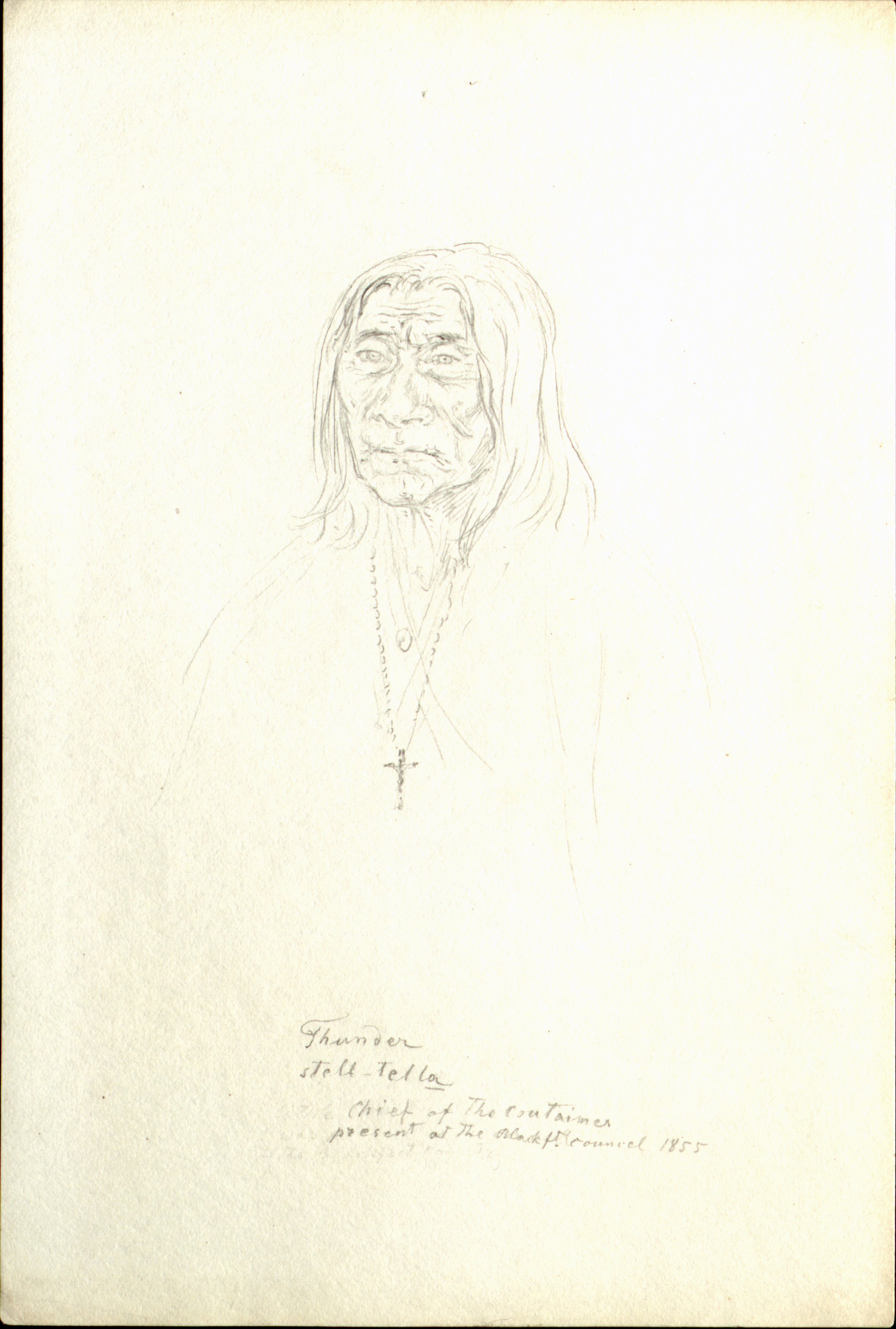 Thunder  Stell-tella  Chief of the coutaines present at the Blackft. Council 1855