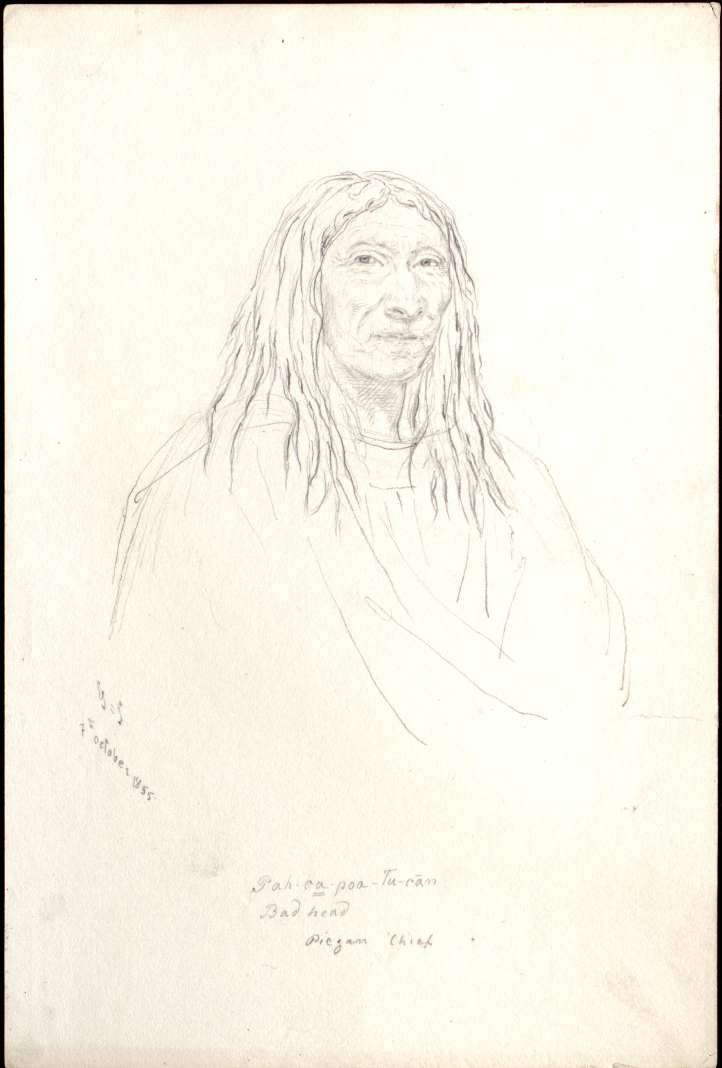 Pah-ca-poa-tu-can  Bad head  Pigean Chief