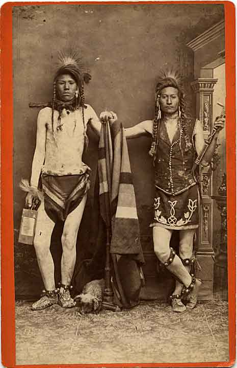 [Two Shoshoni men, studio portrait]