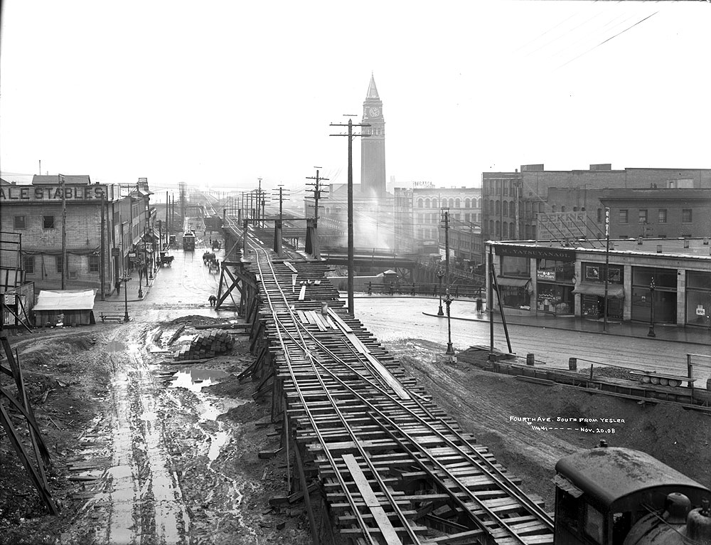 Fourth Ave. South From Yesler, Nov, 20, 1908