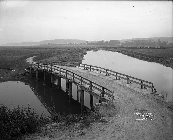 [A. L. Brown Farm View of McAllister Creek and Bridge]