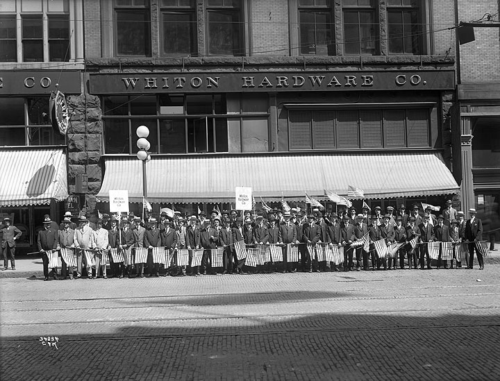 Preparedness Parade, WW I, Whiton Hardware Co., 110 First Avenue South, Seattle