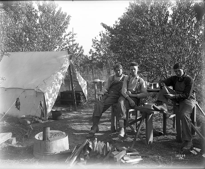 Three Older Boys by Tent, Migrant Apple Pickers on the Curtis Ranch, Yakima Area