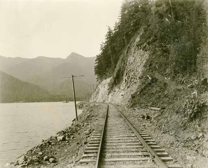 [logging railroad track by Lake Crescent]