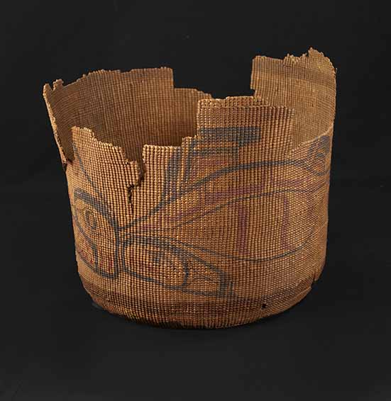 [basket with painted dogfish design]