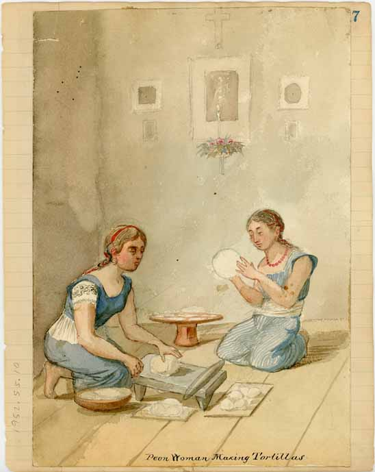 Peon Woman Making Tortillas