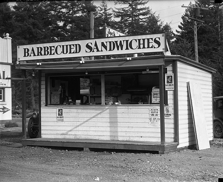 Barbecue Sandwiches Stand, near Ponders Station, Jack Boldt