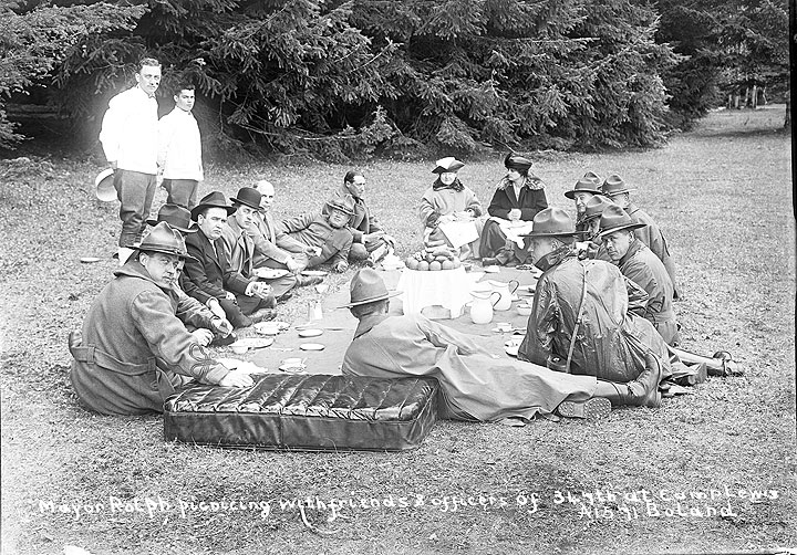 Mayor Rolph Picnicing with Friends & Officers of 347th at Camp Lewis [Pierce County]