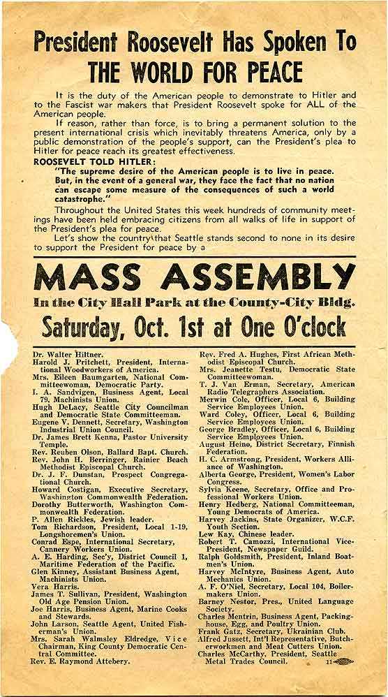 President Roosevelt has spoken to the world for peace: Mass assembly in the City Hall Park at the County-City Bldg...