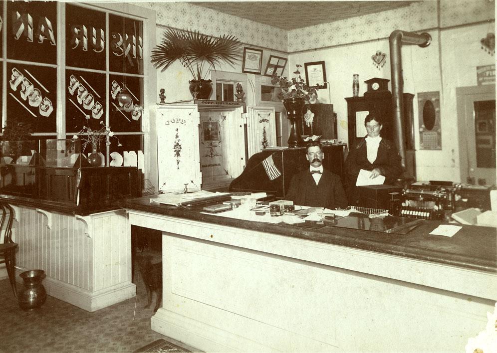 {Interior, H. W. Goff insurance office, Colville, WA, ca. 1900]