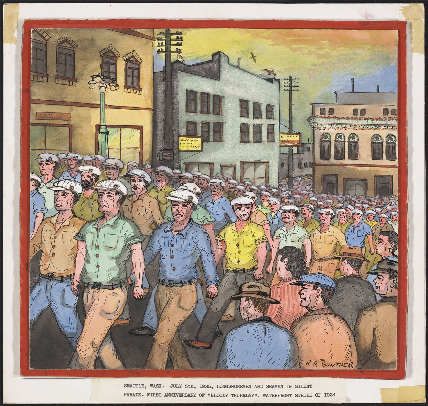 Seattle, Wash.  July 5th, 1935, Longshoremen and Seamen in Silent Parade.  First Anniversary of `Bloody Thursday'.  Waterfront Strike of 1934