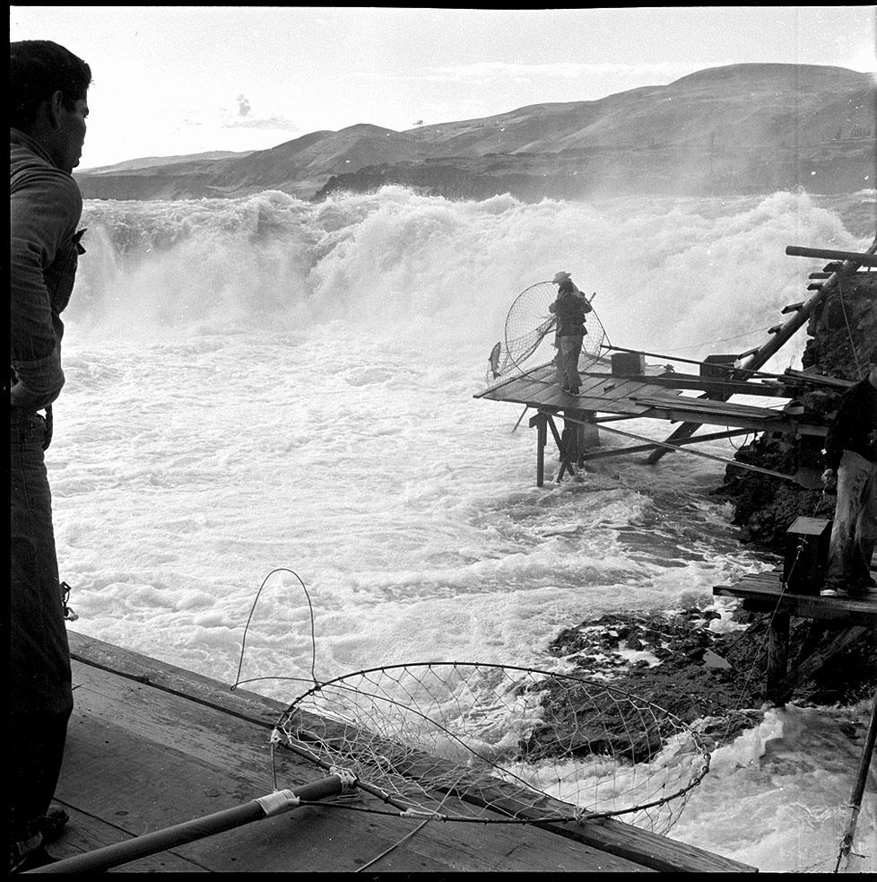 Fisherman on Platform at Celilo Falls
