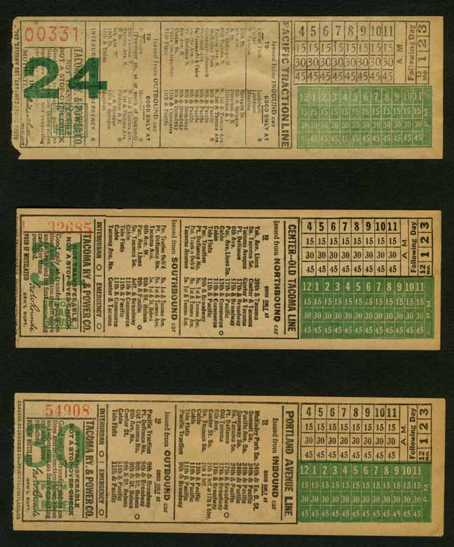 [Tacoma Electric Street Railway System Trolley Tickets]