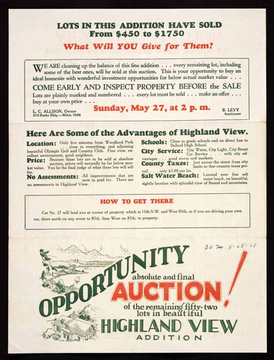 Opportunity--absolute and final auction!: of the remaining fifty-two lots in beautiful Highland View addition