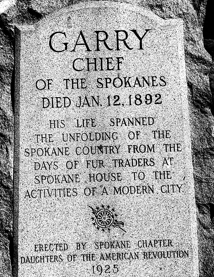 [photo of grave marker for chief Garry]