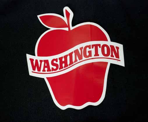 [sticker in shape of apple]