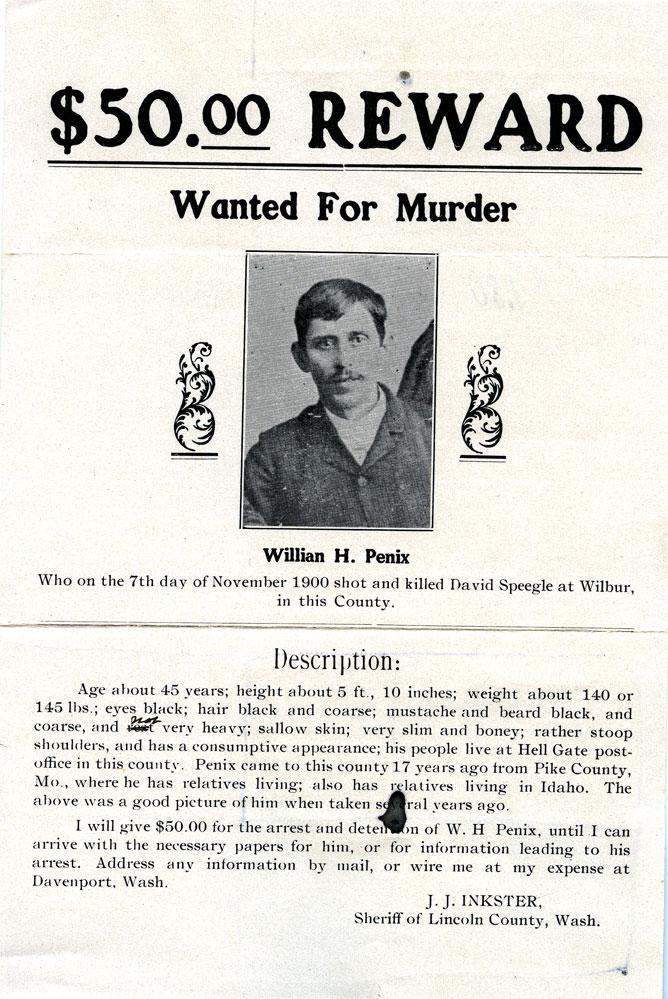 $50.00 reward: wanted for murder, Willian H. Penix