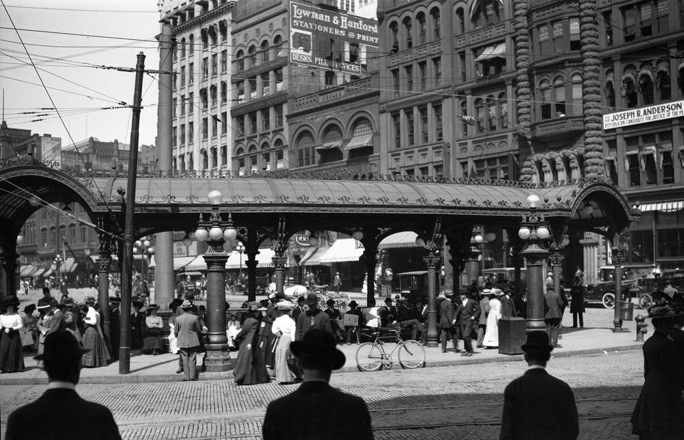 [Street scene Pioneer Square in Seattle]