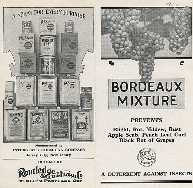 Bordeaux mixture: prevents blight, rot, mildew, rust, apple scab, peach leaf curl, black rot of grapes