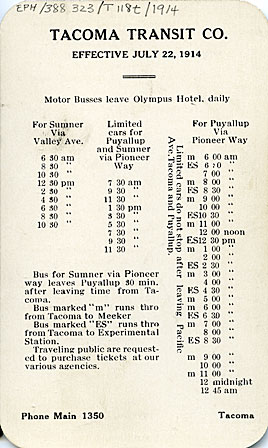 Tacoma Transit Co. Time card, effective July 22, 1914