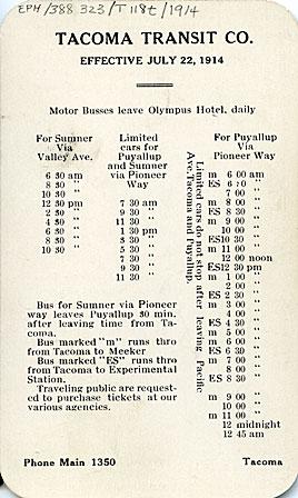 Tacoma Transit Co. Time card, effective July 22, 1914