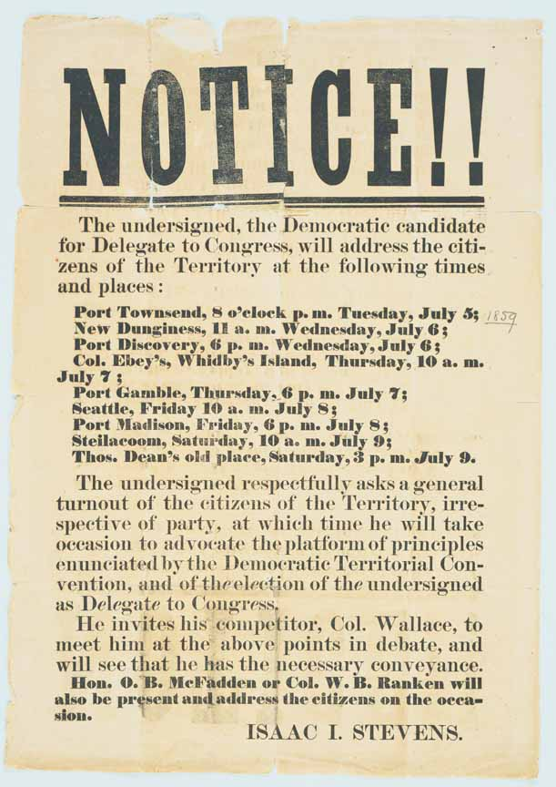 Notice! [of times and places Isaac I. Stevens will speak]