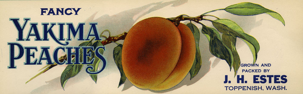 Fancy Yakima peaches: Grown and packed by J. H. Estes, Toppenish, Wash.