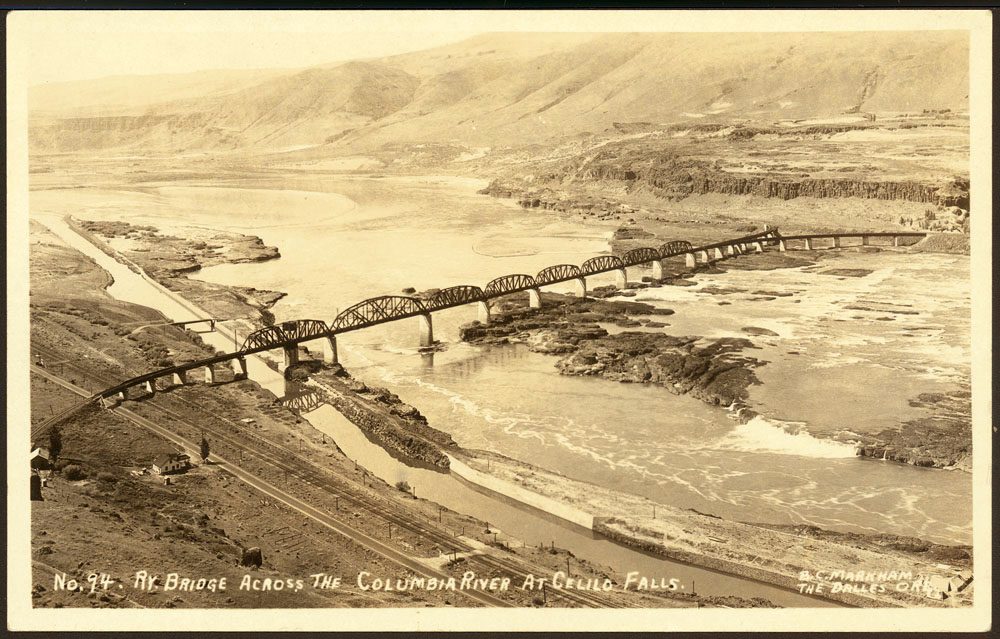 Railroad bridge across the Columbia River at Celilo Falls