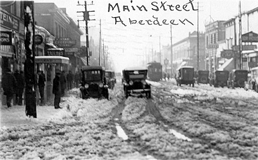 Main Street in snow, Aberdeen