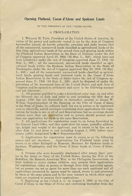 Opening Flathead, Coeur d'Alene and Spokane lands by the President of the United States: a proclamation