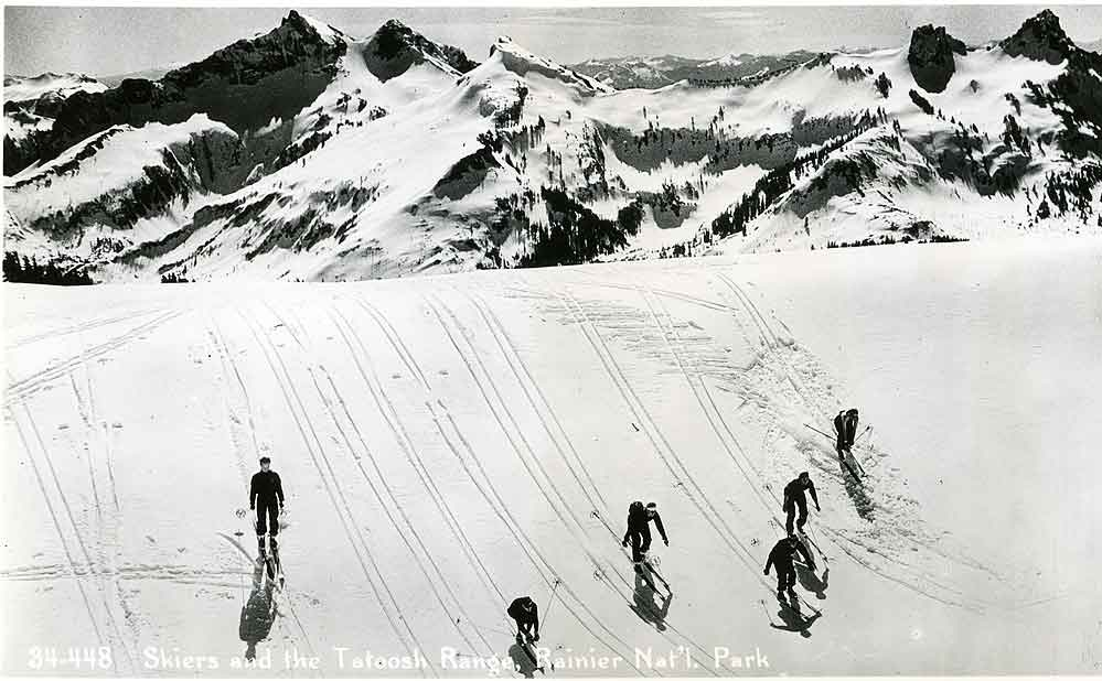 Skiers and the Tatoosh Range, Nainier Nat'l. Park