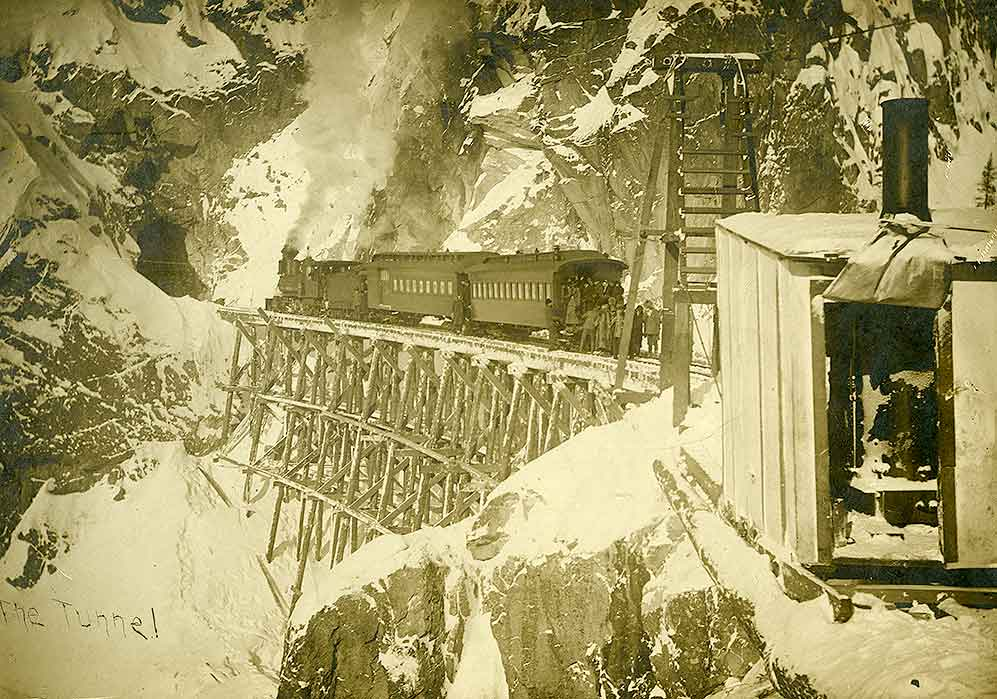 First Passenger Train on the White Pass and Yukon Route to the Summit, Feb. 20, 1899.