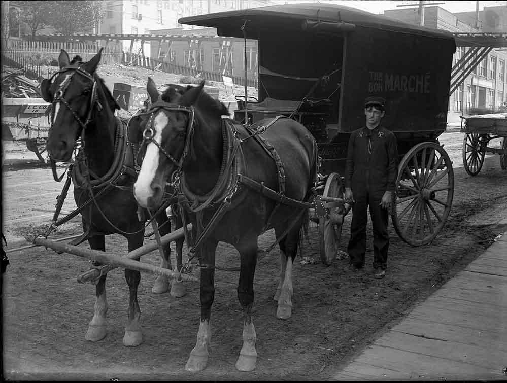 [horse drawn delivery wagon for the Bon Marche]