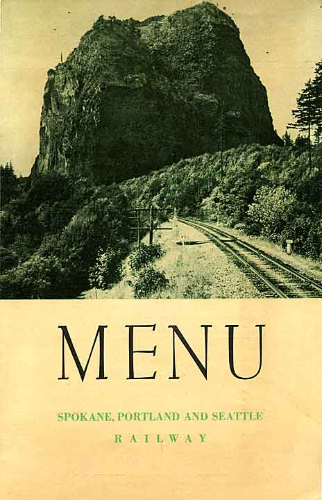 Menu for Columbia River route of the Spokane, Portland & Seattle Railway