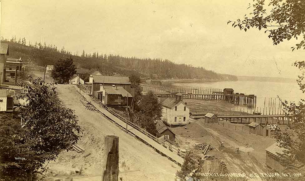 Main Street and Harbour, Old Tacoma. W.T. 1888.