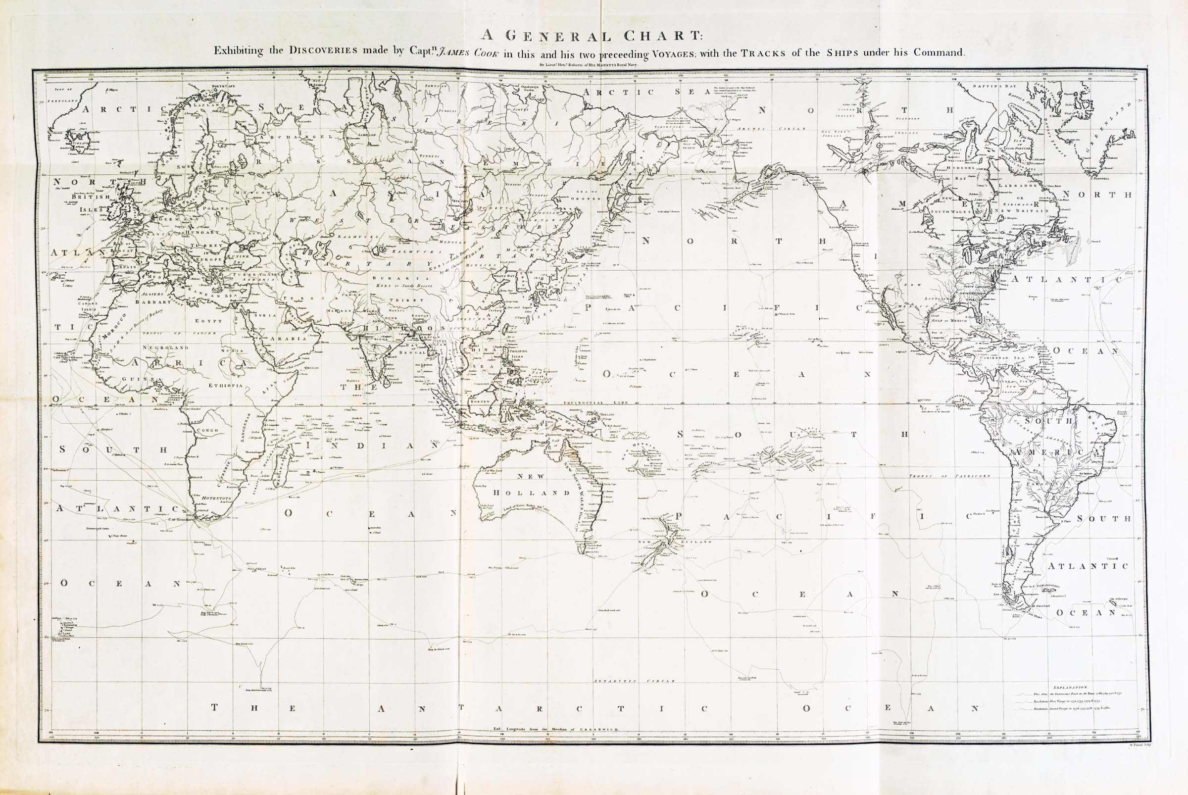 A General Chart: Exhibiting the Discoveries made by Capt.n James Cook in this and his two preceeding Voyages; with the Tracks of the Ships under his Command