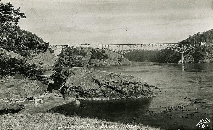 [Postcard photo of Deception Pass Bridge, Washington ca. 1950]