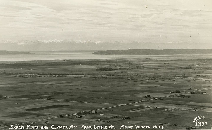 Skagit Flats and Olympic Mts. from Little Mt., Mount Vernon, Wash.