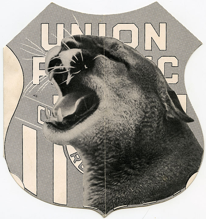 [Couger in front of Union Pacific logo]