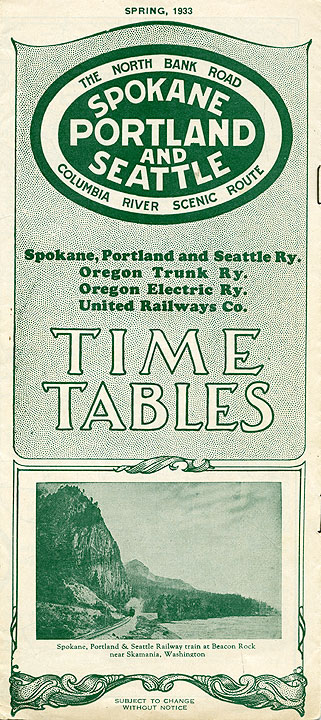 Spokane, Portland, and Seattle Railway, Time tables, Spring 1933
