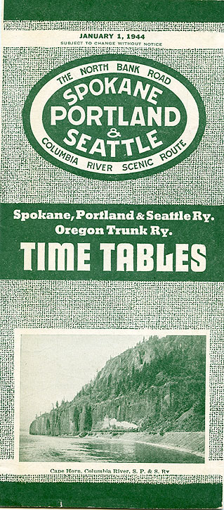 Spokane, Portland & Seattle Ry., Oregon Trunk Ry. time tables