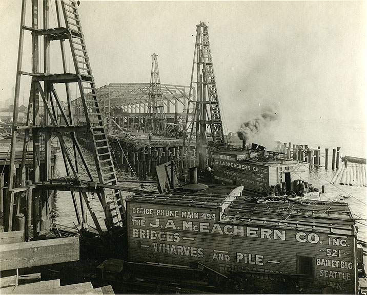 [Construction of Bell Street Terminal, Pier 66, Port of Seattle,1914-1915]