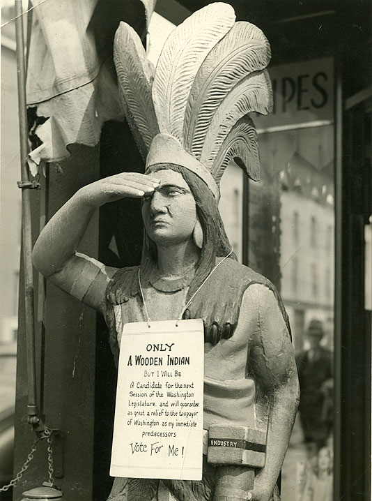 [Manley Cigar Store Wooden Indian Statue]