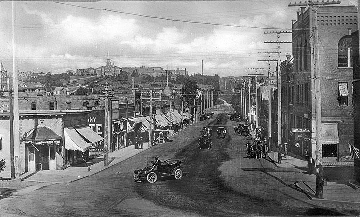 Pullman, WA, Main Street in Foreground, State College of Washington in Distance]