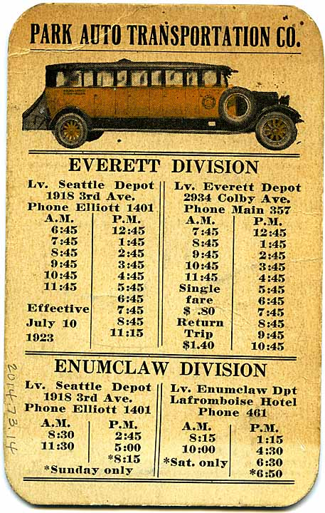 [Timetable for Tacoma, Enumclaw and Everett divisions]